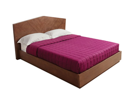 Bed with Platform Base and Wide Headboard